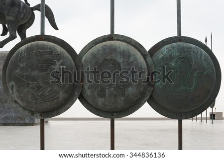 Shields - Alexander the great statue at thessaloniki - stock photo
