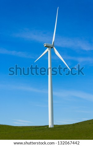 Shiloh Wind Power Plant is a wind farm located in the Montezuma Hills of Solano County, California, USA, very near to Bird's Landing. It has a nameplate capacity of 300 megawatts (MW) of power. - stock photo