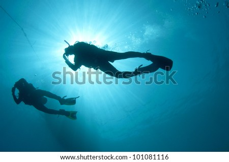 shilouetted scuba divers swim in the deep blue ocean - stock photo