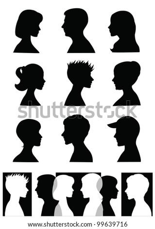 Shilouettes, profiles - stock photo