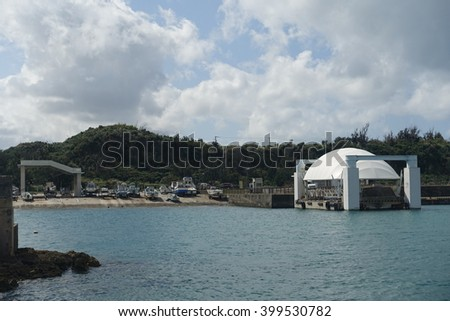 Shimajiri fishery port in Miyako Island, seen from the ship, Okinawa, Japan