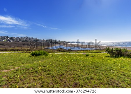 Shimmering reflective sunlight at Santa Rosa Creek Estuary wetlands next to Moonstone Beach, with seaside cottages in the background, along Big Sur Coast, California Central Coast, near Cambria CA. - stock photo