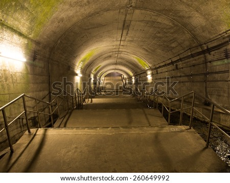 Shin-Shimizu Tunnel (70 meters under ground) for subway train in Gunma Prefecture, Japan
