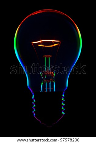 shine color electric lamp on black background - stock photo