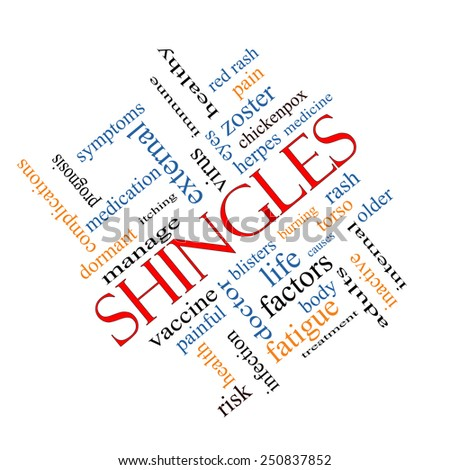 Shingles Word Cloud Concept angled with great terms such as virus, itching, vaccine, rash and more. - stock photo