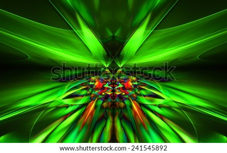 Shining a fantastic green line in a furious motion symmetrically go beyond the horizon. Fractal art graphics.   - stock photo
