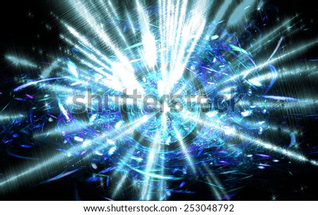 Shining  big fantastic  radial  blast blue  tint. Fractal art graphics - stock photo