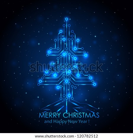 Shining Christmas tree from a digital electronic circuit, illustration. - stock photo