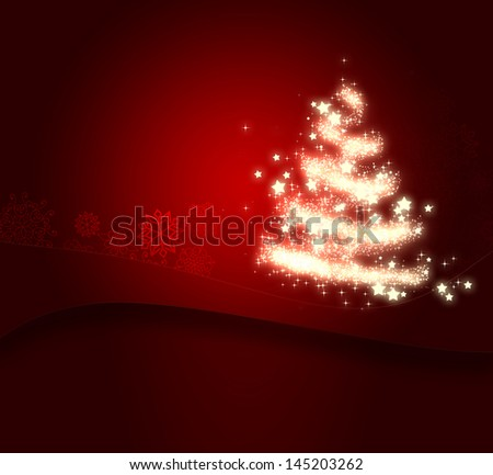 shining Christmas tree on red background