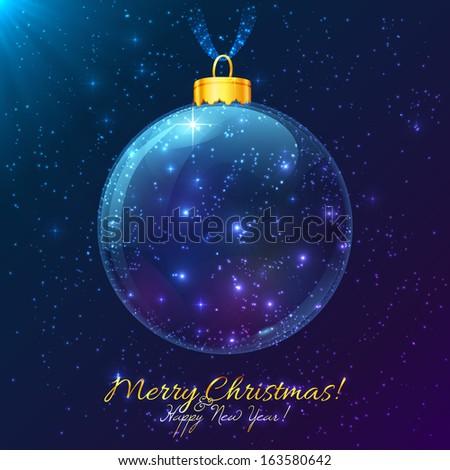 Shining cosmic Christmas ball with Merry Christmas sign - stock photo