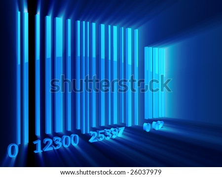 Shining 3d rendered bar code