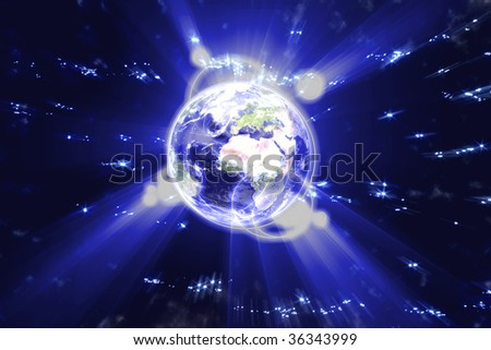 Shining Earth from the space - stock photo