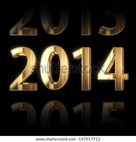 shining golden new year background - stock photo