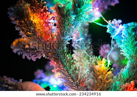 Shining lights of a natural Christmas tree covered snow. New years night black outdoor background. Close Up macro shoot. - stock photo
