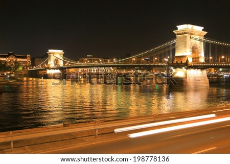 Shining lights of the Chain bridge at night, Budapest, Hungary - stock photo