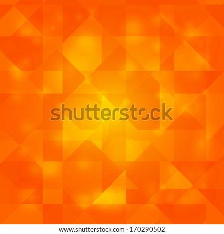 Shining orange geometric background with triangles - raster version - stock photo