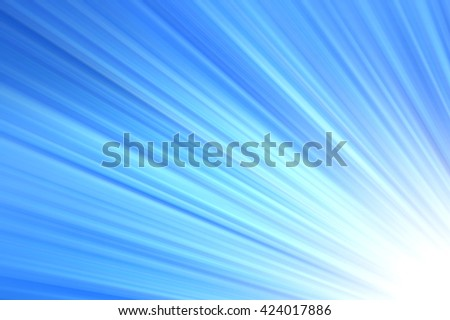 Shining rays of light, Shiny sunbeams, Bright sunbeams on blue background, Abstract bright background, Blue background - stock photo