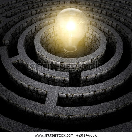 shining the light in the middle of the maze. 3D illustration - stock photo