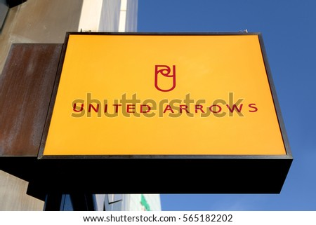 Shinjuku, Tokyo, Japan - January 2, 2017: Signboard of United Arrows: United Arrows is the cutting edge select shops in Japan.