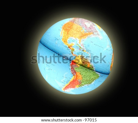 Shinning Blue Earth Globe on a Black background - stock photo
