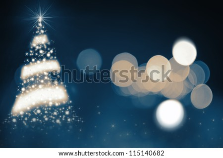 Shinny Christmas Tree, abstract background - stock photo