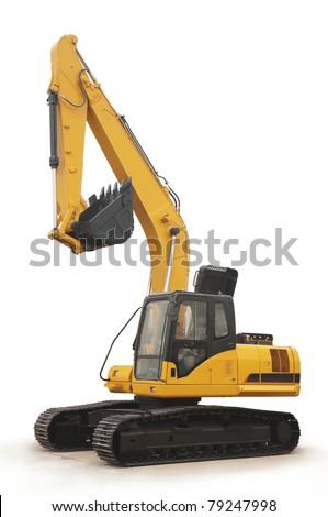 shiny and modern yellow excavator machines isolated on white - stock photo