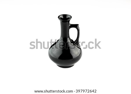 shiny black jug on white background