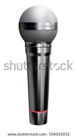 Shiny black microphone - isolated on white background - stock photo