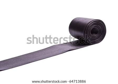 Shiny black satin ribbon on white background