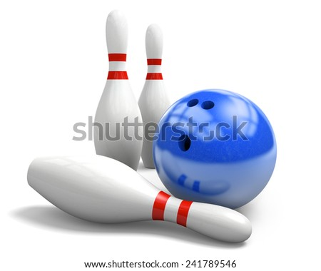 Shiny blue bowling ball and three pins on a white background