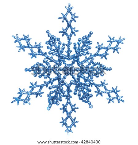 Shiny blue snowflake ornament Christmas tree decoration isolated on white background - stock photo