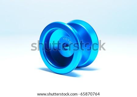 Shiny blue yoyo toy - stock photo