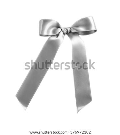 Shiny bow, isolated on white - stock photo