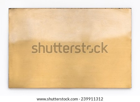 Shiny brass yellow metal sign plate texture isolated on white background  - stock photo
