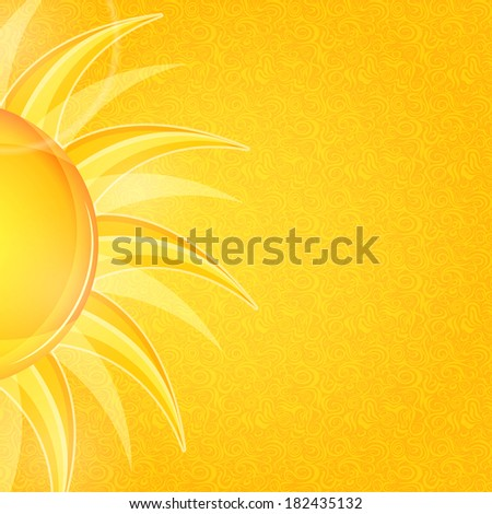 Shiny Bright Invitation Cards with Yellow Sun. Summer Illustration - stock photo