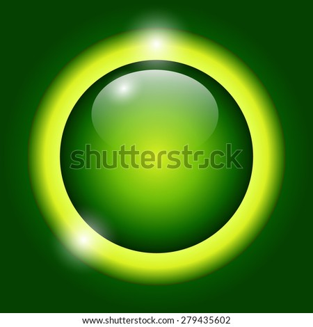 Shiny button green glossy metallic, illustration