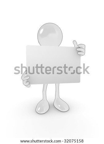 Shiny cartoon character holding an empty sign for your own design. - stock photo