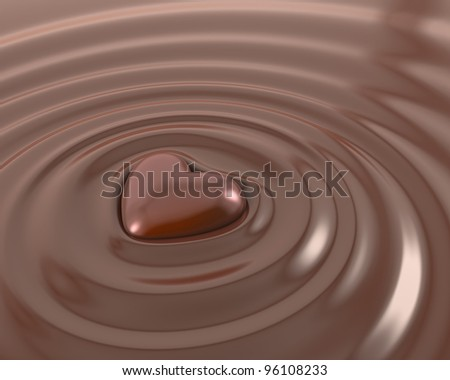 Shiny chocolate heart in a hot chocolate - stock photo