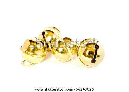 shiny christmas golden bell isolated on white background - stock photo