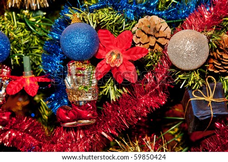 shiny christmas tree decorations in gold red blue - Christmas Tree Decorations Gold And Blue