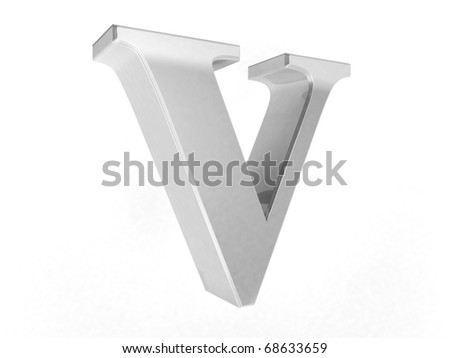 shiny chrome letter V on a white isolated background - 3d rendering - stock photo