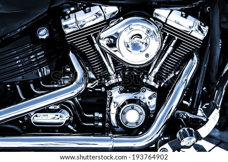 Shiny chrome motorcycle engine block - stock photo