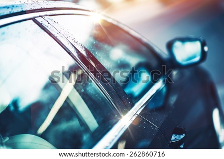 Shiny Clear Compact Car Body. Car Closeup Photo. - stock photo