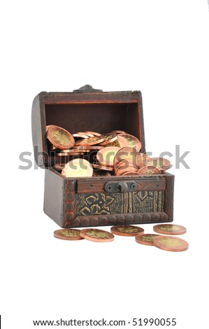 shiny coins in wood chest - stock photo