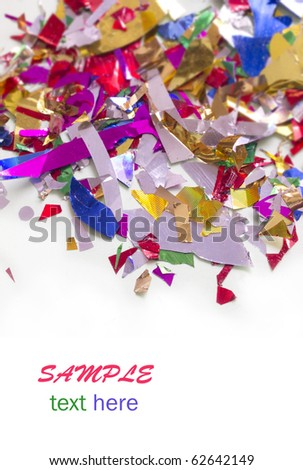 shiny, colorful confetti with the place for your text - stock photo