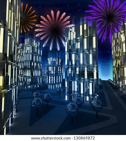 Shiny colorful pyrotechnics show in modern business city illustration - stock photo