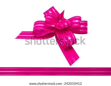 Shiny crimson satin ribbon on white background - stock photo