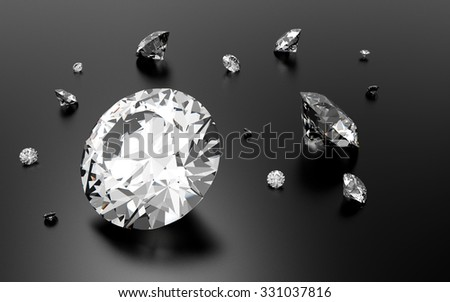 Shiny 3d diamonds on black grey background