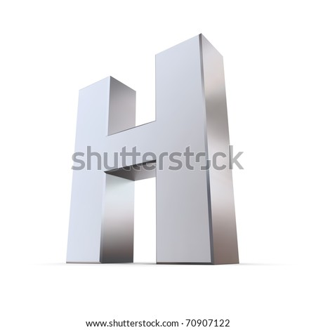 shiny 3d letter H made of silver/chrome - stock photo