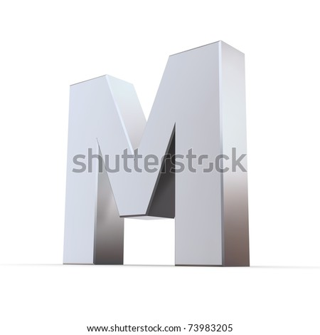 shiny 3d letters M made of silver/chrome - stock photo